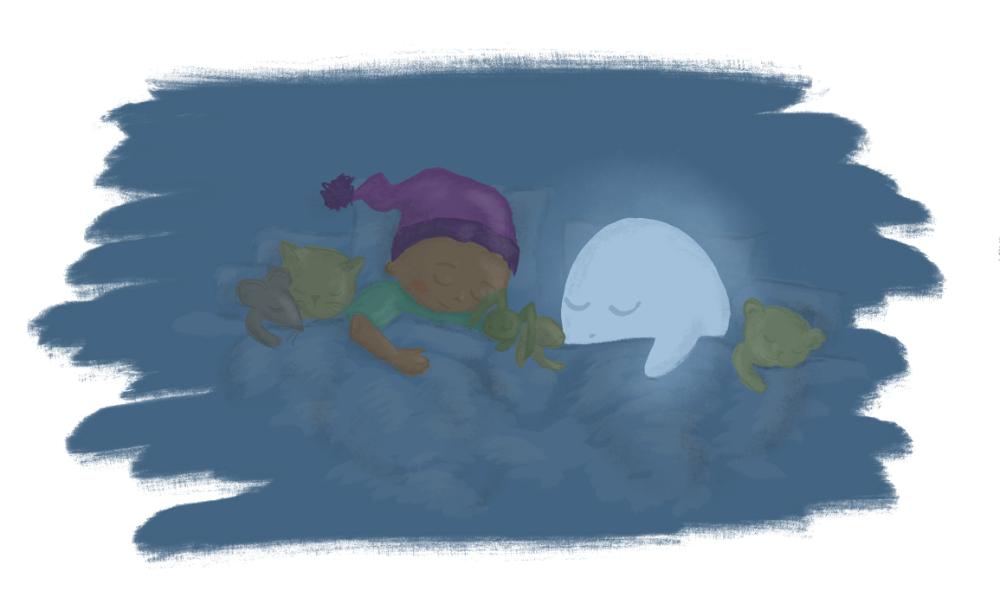 Kiki, Buh und die Kuscheltiere schlafen im Bett